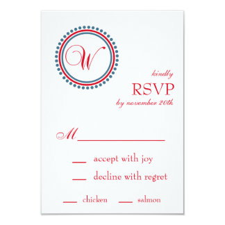 "W Monogram Dot Circle RSVP Cards (Red / Blue) 3.5"" X 5"" Invitation Card"
