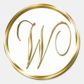 W Monogram Faux Gold Envelope Or Favor Seal Round Sticker