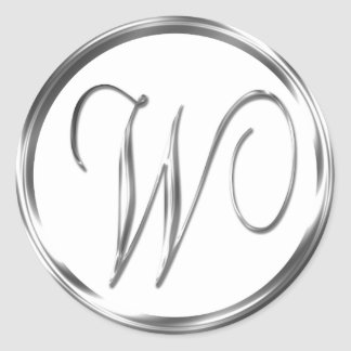 W Monogram Faux Silver Envelope Or Favor Seal Round Sticker