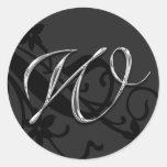 W Monogram Letter Wedding Envelope Seal Sticker