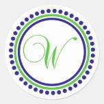 W Monogram (Navy Blue / Lime Green Dot Circle) Round Sticker