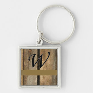 w Monogram Vertical Boards Silver-Colored Square Key Ring