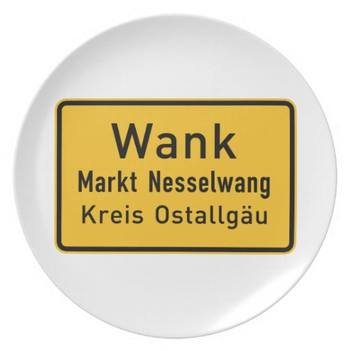W#nk, Germany Road Sign Party Plate