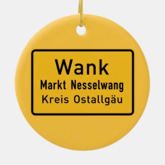 W#nk, Germany Road Sign Round Ceramic Decoration