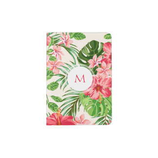 W Personalized Hibiscus Flower Monogram Passport H Passport Holder