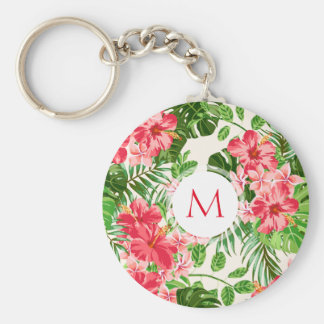 W Personalized Hibiscus Flower Monogram R Keychain