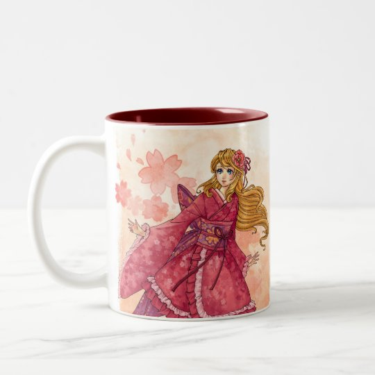 Wa-lolita Cherry Blossom anime girl art mug