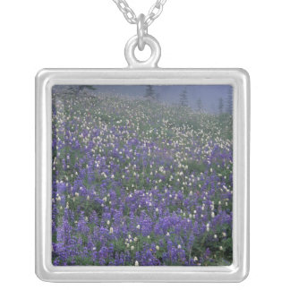 WA, Mt. Rainier NP, Lupine and Bistort meadow Silver Plated Necklace