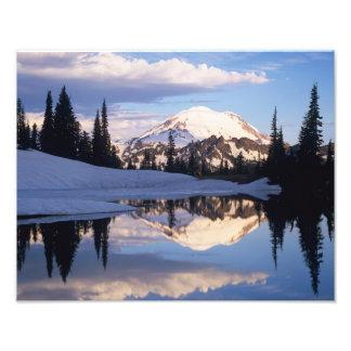 WA Mt Rainier NP Mt Rainier and clouds Photo Print