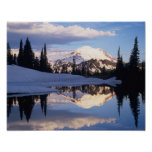 WA, Mt. Rainier NP, Mt. Rainier and clouds Poster