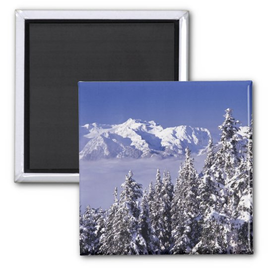 WA, Olympic NP, Olympic Mountain Range, view Square Magnet