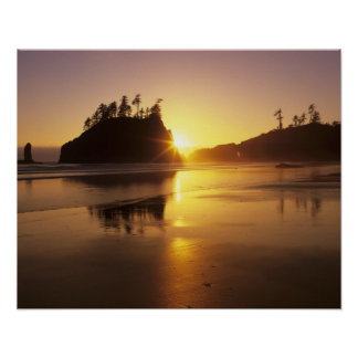 WA, Olympic NP, Second Beach at sunset Poster
