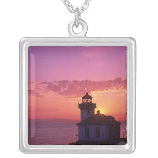 WA, San Juan Island, Lime Kiln Lighthouse, 1919, 2 Silver Plated Necklace