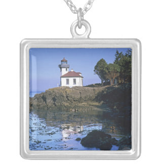 WA, San Juan Island, Lime Kiln lighthouse Silver Plated Necklace