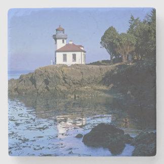 WA, San Juan Island, Lime Kiln lighthouse Stone Coaster