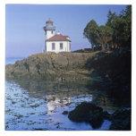 WA, San Juan Island, Lime Kiln lighthouse Large Square Tile