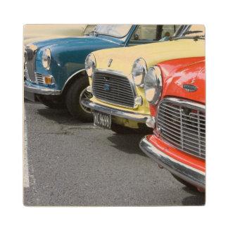 WA, Seattle, classic British automobile. Wood Coaster