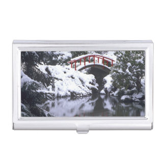 WA, Seattle, Moon bridge and pond after winter 2 Business Card Holder