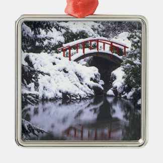 WA, Seattle, Moon bridge and pond after winter 2 Christmas Ornament