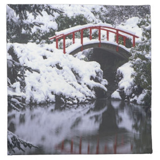 WA, Seattle, Moon bridge and pond after winter 2 Napkins
