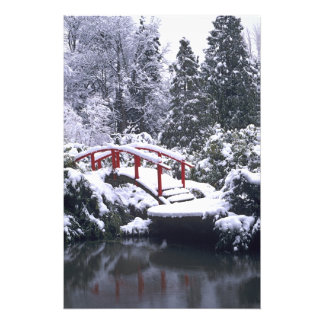 WA, Seattle, Moon bridge and pond after winter Art Photo