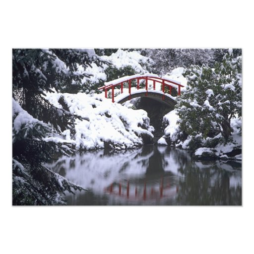 WA, Seattle, Moon bridge and pond after winter Photograph