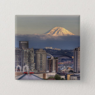 WA, Seattle, Mount Rainier from Kerry Park 15 Cm Square Badge