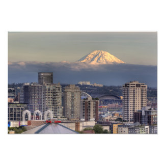 WA, Seattle, Mount Rainier from Kerry Park Photographic Print