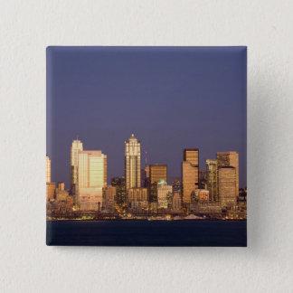 WA, Seattle, Seattle skyline and Elliott Bay, 15 Cm Square Badge