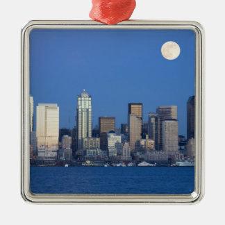 WA, Seattle, Seattle skyline and Elliott Bay 2 Christmas Ornament