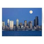 WA, Seattle, Seattle skyline and Elliott Bay 2 Greeting Card
