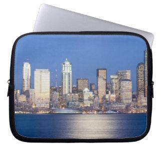 WA, Seattle, Seattle skyline and Elliott Bay, 2 Laptop Sleeve