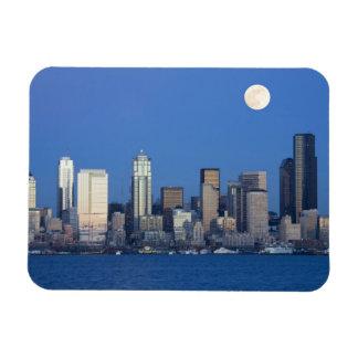 WA, Seattle, Seattle skyline and Elliott Bay 2 Magnet