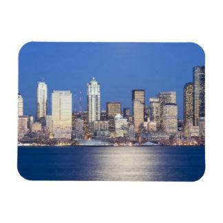 WA, Seattle, Seattle skyline and Elliott Bay, 2 Magnet