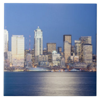WA, Seattle, Seattle skyline and Elliott Bay, 2 Tile