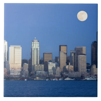 WA, Seattle, Seattle skyline and Elliott Bay 2 Tile
