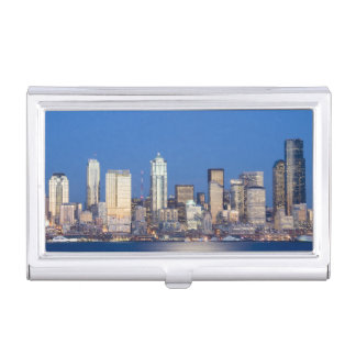 WA, Seattle, Seattle skyline and Elliott Bay 3 Business Card Holder
