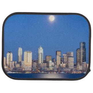 WA, Seattle, Seattle skyline and Elliott Bay 3 Car Mat