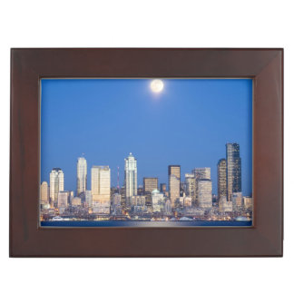 WA, Seattle, Seattle skyline and Elliott Bay 3 Keepsake Box