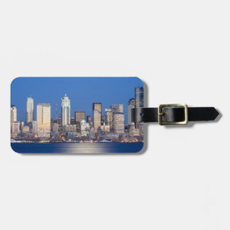 WA, Seattle, Seattle skyline and Elliott Bay 3 Luggage Tag