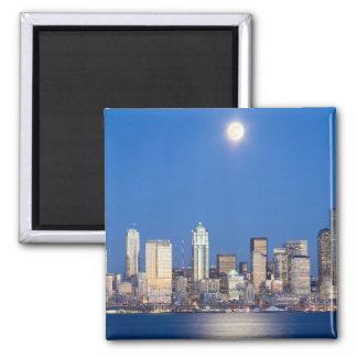 WA, Seattle, Seattle skyline and Elliott Bay 3 Magnet