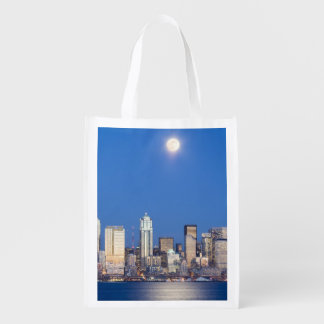 WA, Seattle, Seattle skyline and Elliott Bay 3 Reusable Grocery Bag