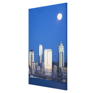 WA, Seattle, Seattle skyline and Elliott Bay 4 Canvas Print