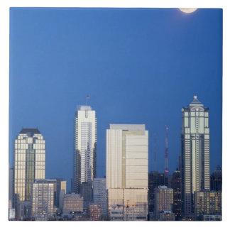 WA, Seattle, Seattle skyline and Elliott Bay 4 Tile