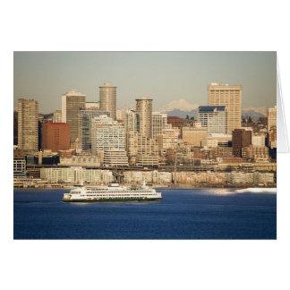 WA, Seattle, Seattle skyline and Elliott Bay Card
