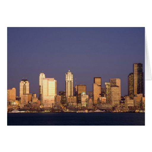 WA, Seattle, Seattle skyline and Elliott Bay, Cards