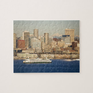 WA, Seattle, Seattle skyline and Elliott Bay Jigsaw Puzzle