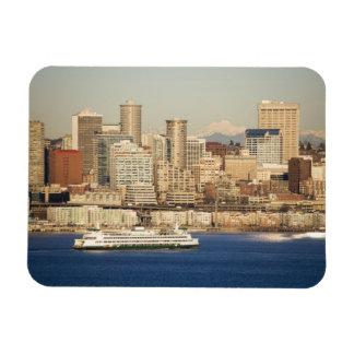 WA, Seattle, Seattle skyline and Elliott Bay Magnet