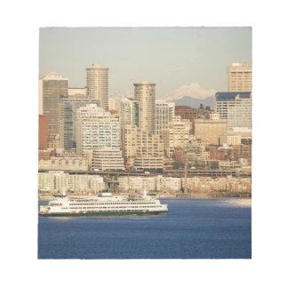 WA, Seattle, Seattle skyline and Elliott Bay Notepad