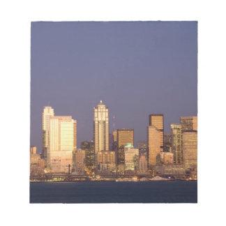 WA, Seattle, Seattle skyline and Elliott Bay, Notepad